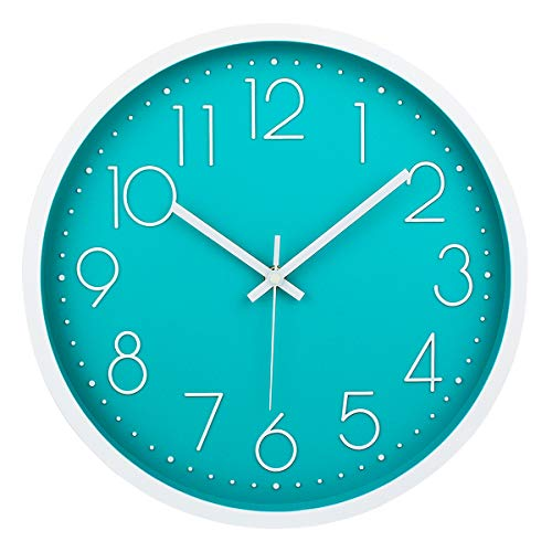 Filly Wink Modern Wall Clock Silent Non-Ticking Sweep Movement Battery Operated Easy to Read Home/Office/School Clock 12 Inch Teal (Wall Turquoise Clock)