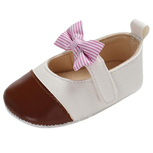 (❤️Rolayllove❤️ Girls Leather Bows Design Soft Round Toe Princess Dress Mary Jane Flat Shoes(Toddler/Little Kid) Brown)