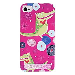 TOPMM Joyland Cartoon Crocodile Pattern ABS Back Case for iPhone 4/4S(Assorted Color) , Rose