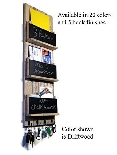 Renewed Décor Sydney Wall Mounted Magazine, File Folder and Book Rack Featuring Customizable Number of Key Hooks, Organizing Slots, Chalkboards Available in 20 colors ()