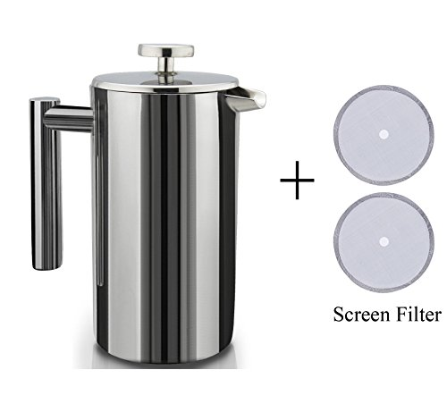 Double Wall Stainless Steel French Coffee Press with 2 extra Screen Filters, 1 Liter/34oz Coffee Maker