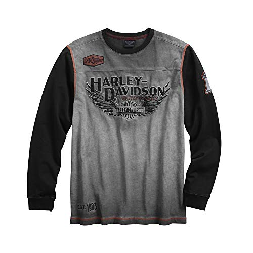 Harley-Davidson Authentic Men's Iron Block Pullover, Grey (Large)