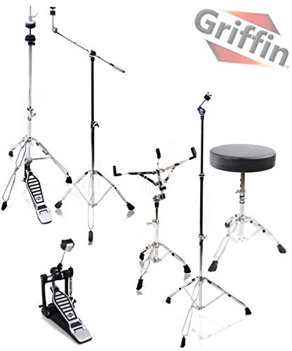 (Complete Drum Hardware Pack 6 Piece Set by Griffin   Full Size Percussion Stand Kit with Snare, Hi-Hat, Cymbal Boom, Throne Stool and Single Kick Drum Pedal   Lightweight and Portable Perfect for Gigs )