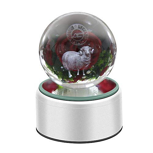 3D Crystal Ball Constellation Gift LED Lighting Astronomy Nebula 7 Colors Optical Illusion 3D Lamp Laser Engraving Valentine Children's Day (Aries)