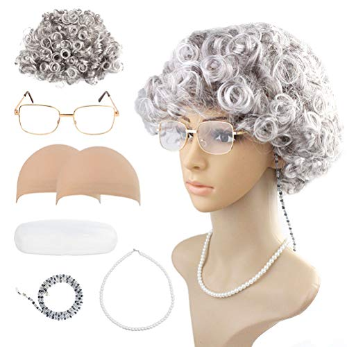 Wobe Old Lady Cosplay Set - Grandmother Wig, 2 Pcs Wig Cap, Madea Granny Glasses, Eyeglass Chains Cords Strap, Pearl Beads Necklace Cosplay Costume Accessories Granny Wig Short Curly for Dress Up