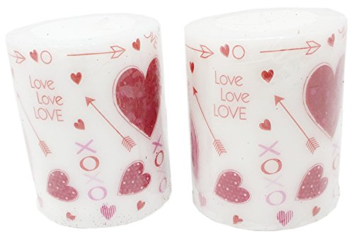 - Valentine Unscented Printed Pillar Candles, Set of 2, 3