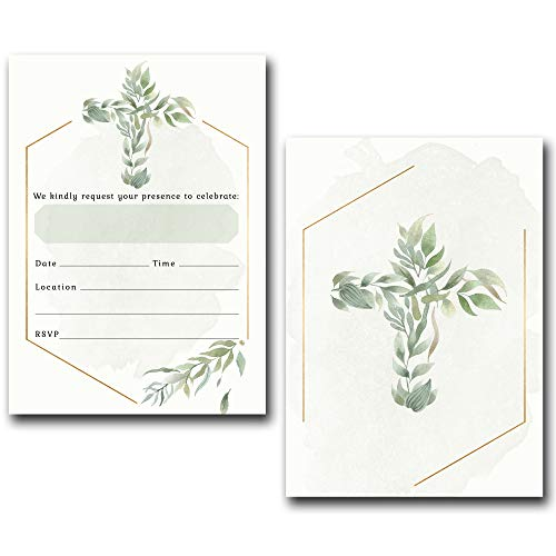 Religious Invitations - Boys or Girls - 20 Fill-in Cards with Stickers & Envelopes for Baptism, Christening, First Communion, Confirmation, 5 x 7 Inches by Nora's Nursery (Image #2)