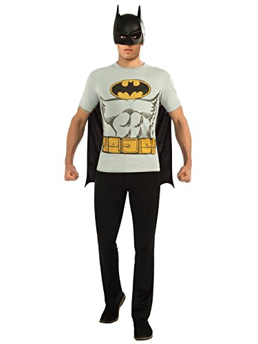 DC Comics Batman T-Shirt with Cape and Mask, Black, -