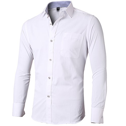 Mens dress shirt white french cuff tailored slim fit for Wrinkle free dress shirts amazon