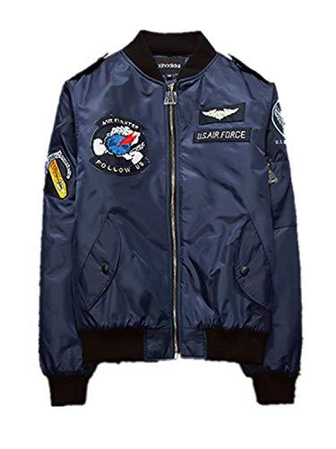 Cómodo Los Chaqueta Bombardero Vintage Unisex Clásico Bordado Clásica Blau Vintage Hombres Battercake De Estilo De Motorista Elegante Ciclista Bombardero Bordado con d7wFXXx