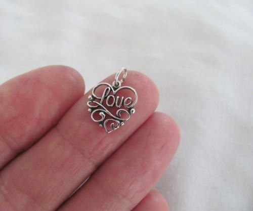 Sterling Silver Wide Ribbon Filigree - Sterling Silver filigree love heart small charm.Jewelry Making Supply Charm, Bracelets and More by Wholesale Charms