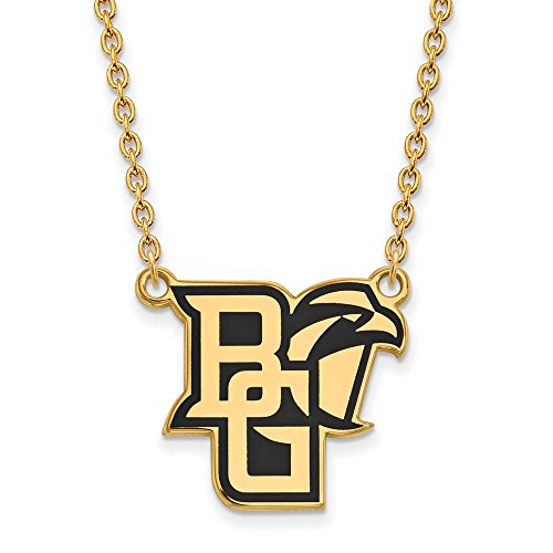 Roy Rose Jewelry Sterling Silver with 14K Yellow Gold-plated LogoArt Bowling Green State University Large Enameled Necklace ()
