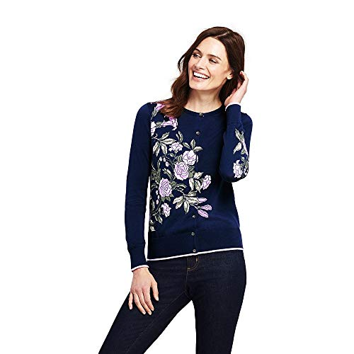 Lands' End Women's Supima Cotton Cardigan Sweater, S, Deep Sea Placed Floral