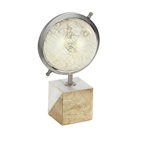 Benzara Metal Statues Bm119531 Benzara Ingenious Wood Globe 8 X 13 X 6 Inches Clear