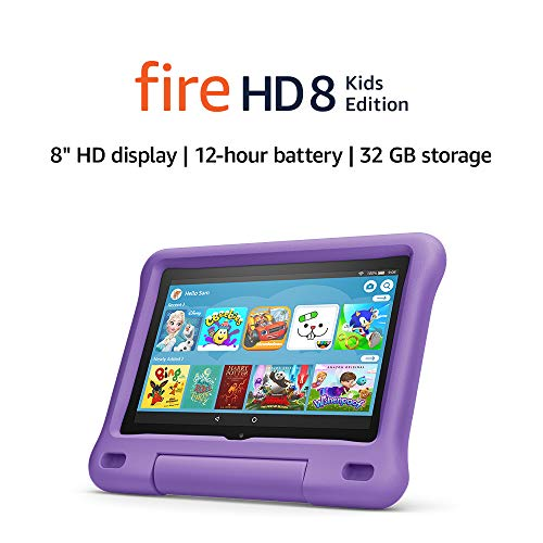 Fire HD 8 Kids tablet | for ages 3-7 | 8″ HD display, 32 GB | Purple Kid-Proof Case