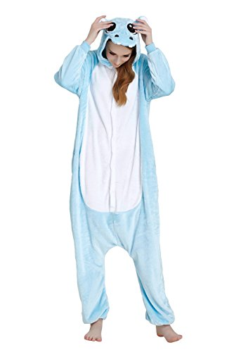Women's Animal Flannel Cosplay Pajamas Onesie, Hippo, XL