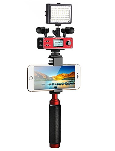 Smartphone Accessory Bundle Kit (Saramonic Ultimate Smartphone Video Kit with Dual Stereo Microphones, Audio Mixer, LED Light and Stabilizing Rig for Apple iPhone 5, 5C, 5S, 6, 6S, 7, 8, X (Regular and Plus), Samsung Galaxy, and More)