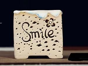 Hecho a mano cerámica pottery casa/jardín maceta flor cuadrado (tamaño pequeño Vintage con sonrisa palabra