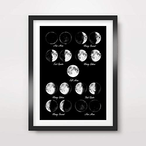 MOON PHASES CALENDAR CHART BLACK WHITE ART PRINT Poster Home Decor Outer Space Lunar Diagram Illustration Wall Picture A4 A3 A2 (10 Size (White Photo Wall Calendar)