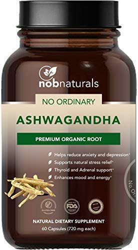 NOB Naturals No Ordinary Ashwagandha Premium Organic Root Extract   Anxiety and Fatigue Relief Natural Dietary Supplement   Adrenal System Support - 60 Capsules ()