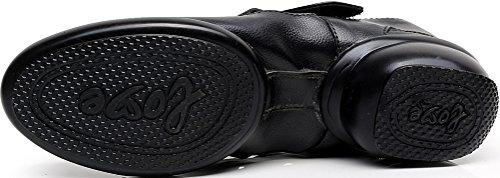 Abby 1002 Femmes Mary Jane Jazz Pratique Chaussures De Danse Fermé Orteil Plat Split Semelle Pu Sneakers Noir