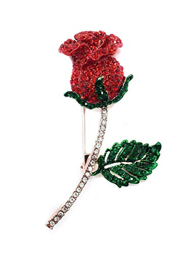 Ahugehome Women Brooch Pin Rose Flower Camellia Inlay Crystal Vintage Style Dress Party Wedding (G Rose Flower Crystal Rose Gold red) (Rose Ladies Inlay Red)