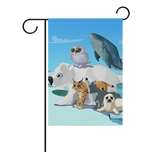 YQZsay Arctic Animals Gathering Seasonal Holiday Garden Yard House Flag Banner 12 X 18 inches Decorative Flag for Home Indoor Outdoor Decor -
