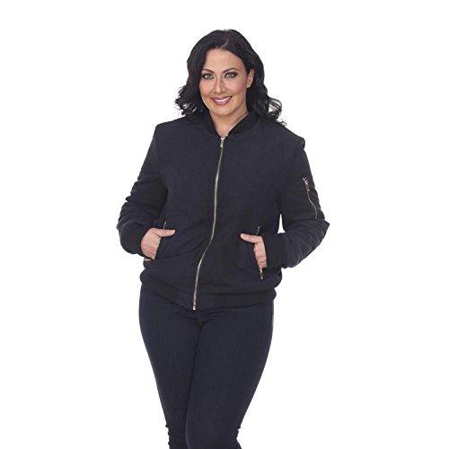 (Women's Plus Size Classic Bomber Jacket Short Quilted Zipper Coat in Black - 3XL)