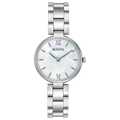 Bulova Women's Analog-Quartz Watch with Stainless-Steel Strap, Silver, 12 (Model: 96L229)