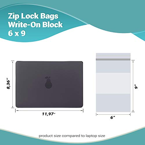 APQ Pack of 100 Zip Lock Bags with Write-On Block 6 x 9. Clear Reclosable Polyethylene Zipper Bags for Packing and Storing 6x9. 2 mil. Plastic Bags for Industrial, Food Service, Health Needs.