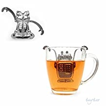 GENENIC Set of 2 Stainless Steel Tea Infuser Loose Leaf Strainer with Drip Tray (Frog & Robot)