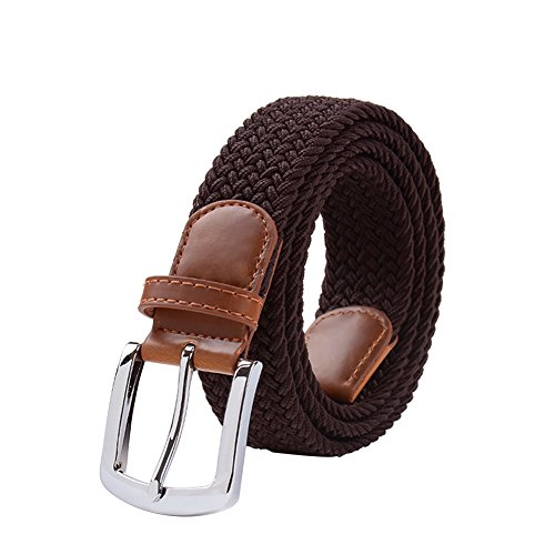 Maikun Braided Elastic Stretch Woven Belt with Leather Tip Nickle Pin 45in Buckle Brown