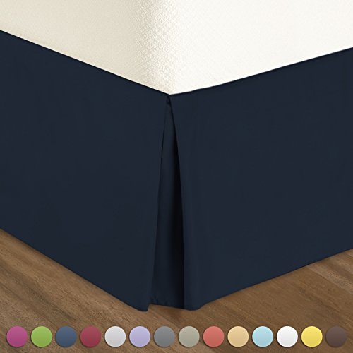 "Blue Twin Bedskirt (Pleated Bed-Skirt Twin XL Size – Dark Blue (Navy) Luxury Double Brushed 100% Microfiber Dust Ruffle, 14"" inch Tailored Drop, Covers Bed Legs and Frame. By Nestl Bedding)"