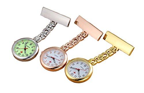 (Pack of 3) Women's Fob Watch with Quartz Movement Clip Pin Brooch Hanging Pocket Watch by autulet