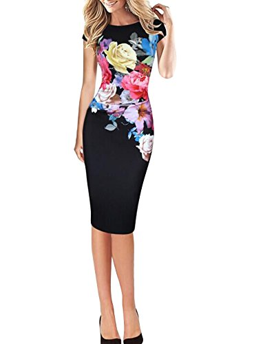Floral Cap Sleeve Plus Size Sheath Dresses for Work Knee Length Pencil  Dresses