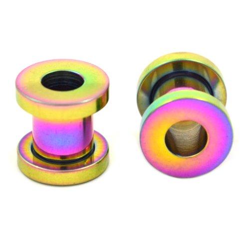 (Pair (2) Rainbow Titanium Plated Screw Fit Ear Plugs Tunnels Gauges- 4G 5MM)