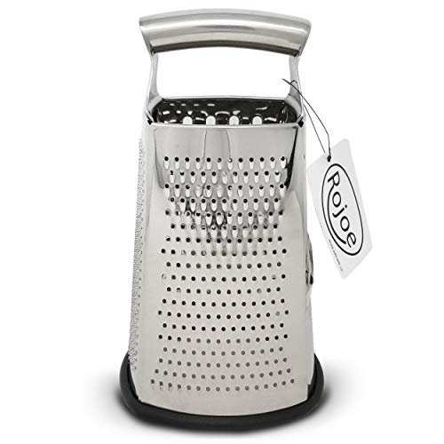 Box Grater 4-Sided Stainless Steel Large 10 Grater for Parmesan Cheese, Slice or Zest Vegetables