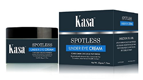 - Kasa Under Eye Dark Circles Natural Moisturizer Cream [ with Almond, Chamomile Tea, Aloevera, Cucumber, Mulethi/Licorice extracts] for Dark Circles, Fine lines & Puffiness removal Wt 1.76 OZ