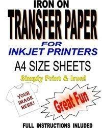 Printable Inkjet Iron On T Shirt & tessuto per tessuti, carta per decalcomanie, 50 fogli formato A4 Madaboutink