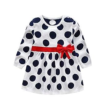 33dd69e42 Amazon.com   Fumak  2018 Autumn Winter Girls Sweater Dress Bow Dot ...