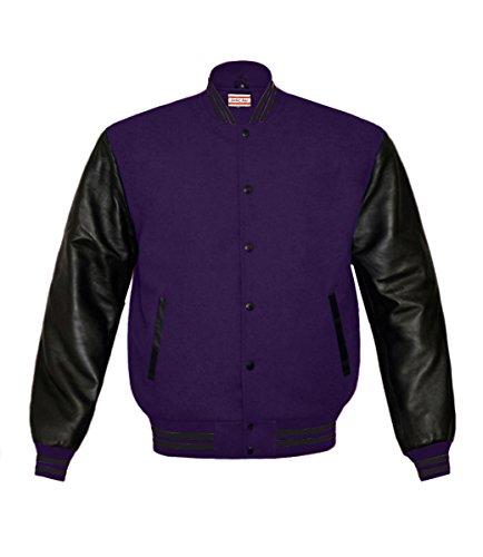 Superb Genuine Leather Sleeve Letterman College Varsity Men Wool Jackets Purple