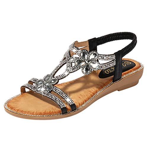 LIM&Shop ❤ Ladies Bohemia Flat Sandals, Women Summer Beach T-Strap Flip Flop Sparkling Rhinestone Walking Shoes Casual