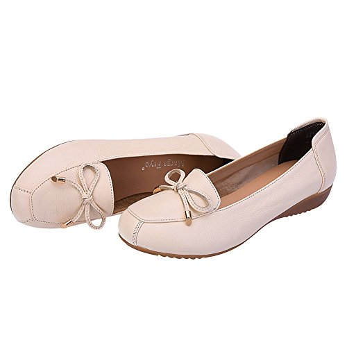 Moccasins Breathable Jamron Loafer Wedge Summer Genuine Women Hollowed Out Slippers Beige Comfort Leather Heel wXXH6TIq