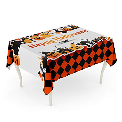 Tarolo Rectangle Tablecloth 60 x 90 Inch Orange Cat Halloween on Colors to Night Party for Celebration of Autumn Symbols Horror Town Table Cloth -