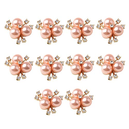 (Prettyia 10Pcs Cute Fashion Jewelry Crystal Rhinestone Flowered Pearl Button Necklace Ornaments Hair Band Decors Earrings Supply Rose Gold)