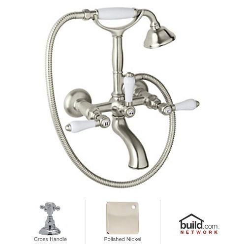 Rohl A1401XMPN Country Bath Exposed Wall Mounted Tub Shower Mixer, Polished Nickel