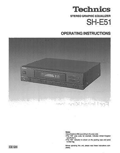 Technics SH-E51 Equalizer Owners Instruction Manual Reprint [Plastic Comb] Every Instruction Manual