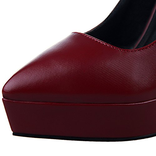 BIGTREE High Heels Women Matte Pointed Toe Shoes by Platform Wedding Court Shoes Red BnTYFvM