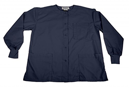 Natural Uniforms Women's Warm Up Jacket (Navy Blue) (Medium) (Plus Sizes - Sleeve Long Scrub Tops