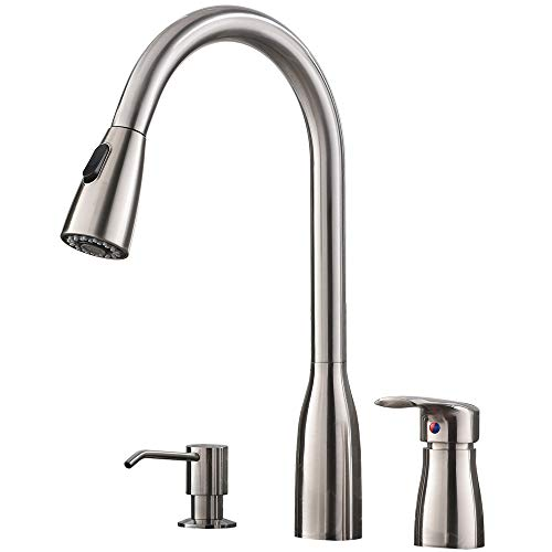 Hotis 3 Hole Pull Out Prep Sprayer Stainless Steel Single Handle Pull Down Kitchen Faucet, Brushed Nickel Kitchen Sink Faucet with Soap Dispenser